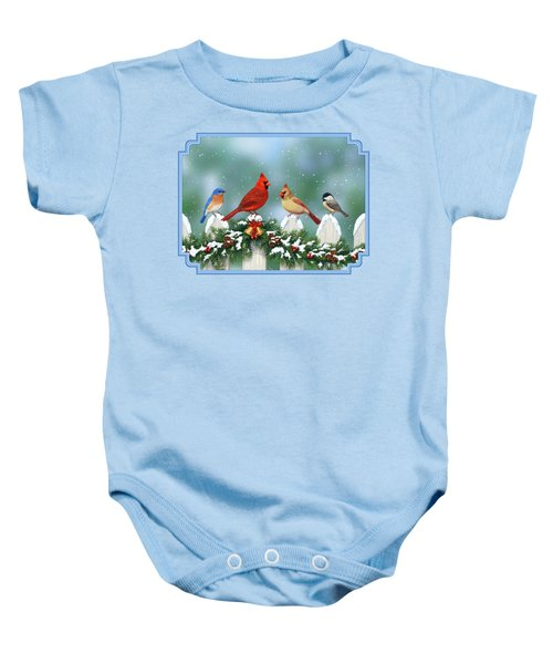 Winter Birds And Christmas Garland Baby Onesie by Crista Forest