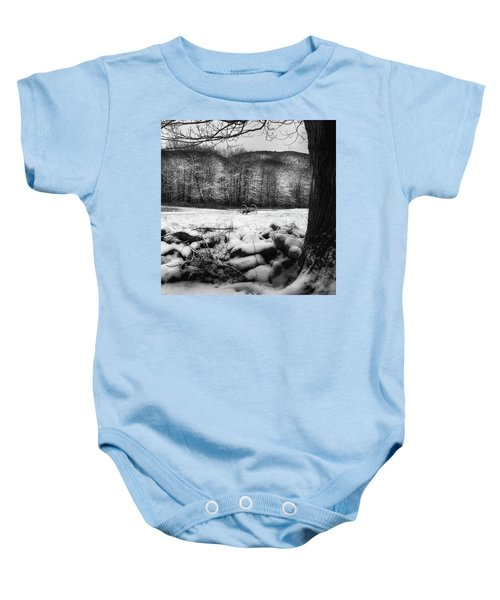 Baby Onesie featuring the photograph Winter Dreary Square by Bill Wakeley