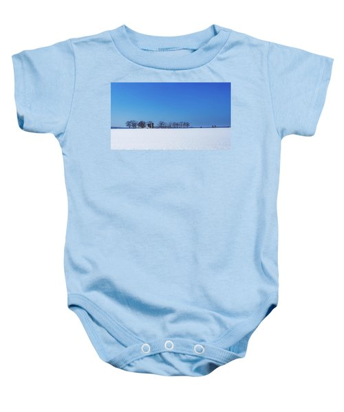 Winter Farm Blue Sky Baby Onesie