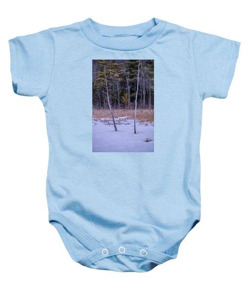 Winter Marsh And Trees Baby Onesie