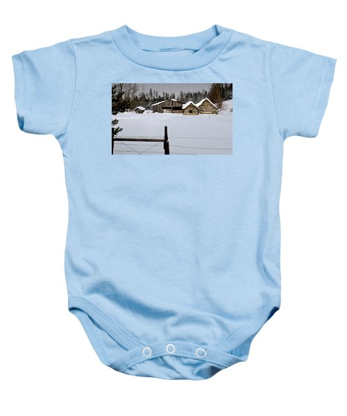 Winter On The Ranch Baby Onesie