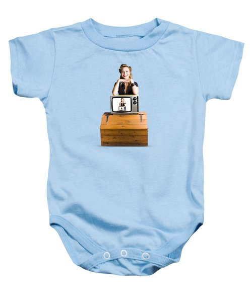 Woman  In Front Of Tv Camera Baby Onesie