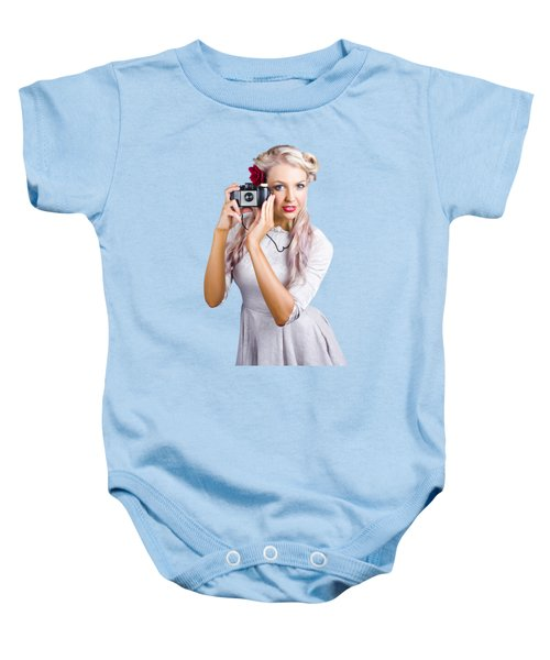 Woman Using Retro Film Camera Baby Onesie by Jorgo Photography - Wall Art Gallery