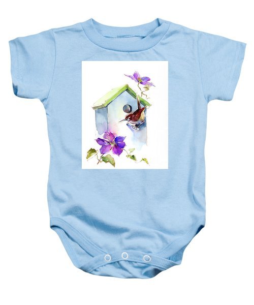 Wren With Birdhouse And Clematis Baby Onesie
