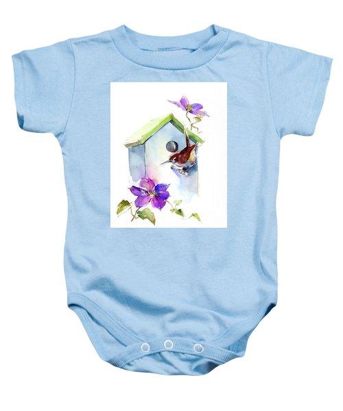 Wren With Birdhouse And Clematis Baby Onesie