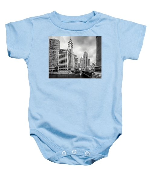 Baby Onesie featuring the photograph Wrigley Building Chicago by Adam Romanowicz