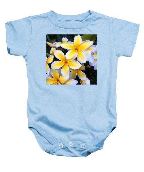 Yellow And White Plumeria Baby Onesie