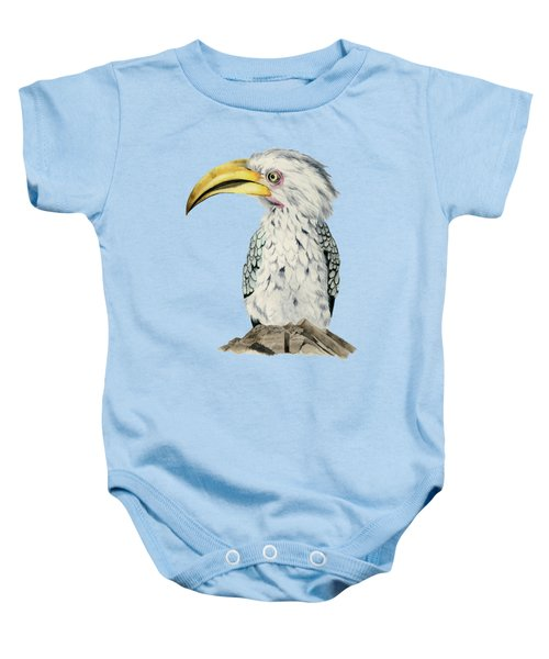 Yellow-billed Hornbill Watercolor Painting Baby Onesie