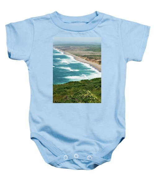 Baby Onesie featuring the photograph Yellow Flowers Blue Ocean by Renee Hong