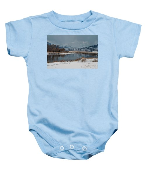 Yellowstone River In Light Snow Baby Onesie
