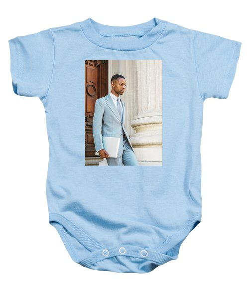 Young African American Businessman Working In New York Baby Onesie