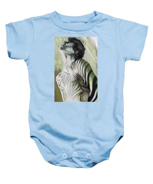 Zebra Boy In Spring Baby Onesie