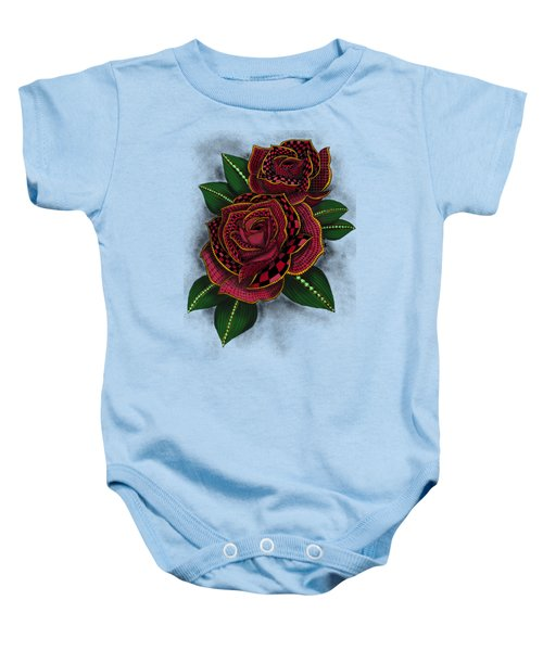 Zentangle Tattoo Rose Colored Baby Onesie