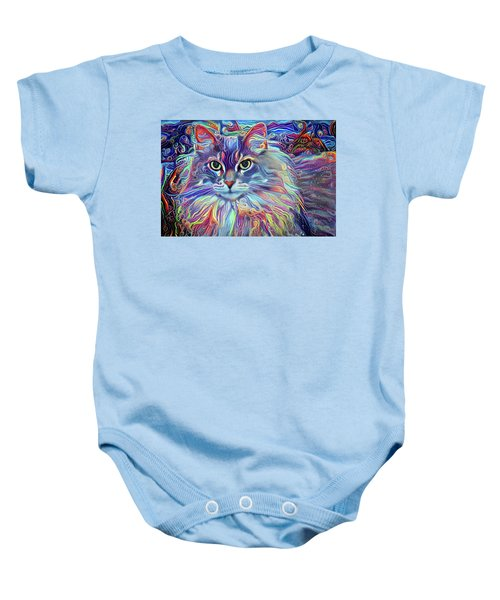 Colorful Long Haired Cat Art Baby Onesie