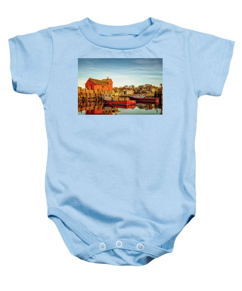 Low Tide And Lobster Boats At Motif #1 Baby Onesie