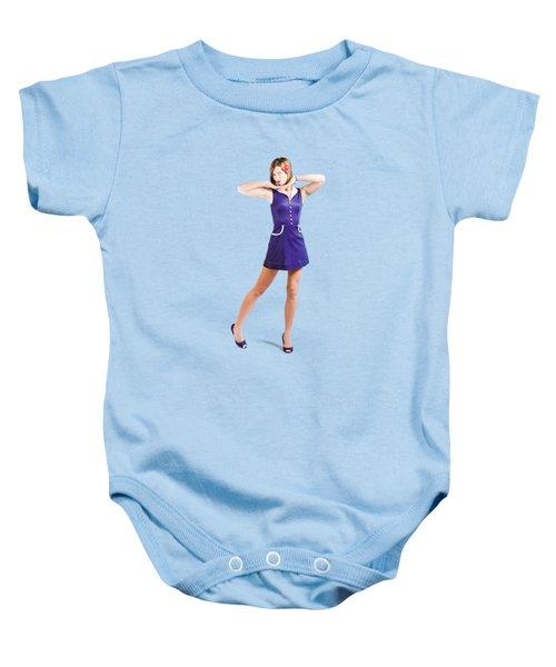 50s Pin-up Girl In Retro Purple Polka Dot Dress Baby Onesie