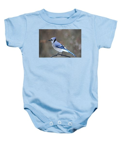 A Snowy Day With Blue Jay Baby Onesie