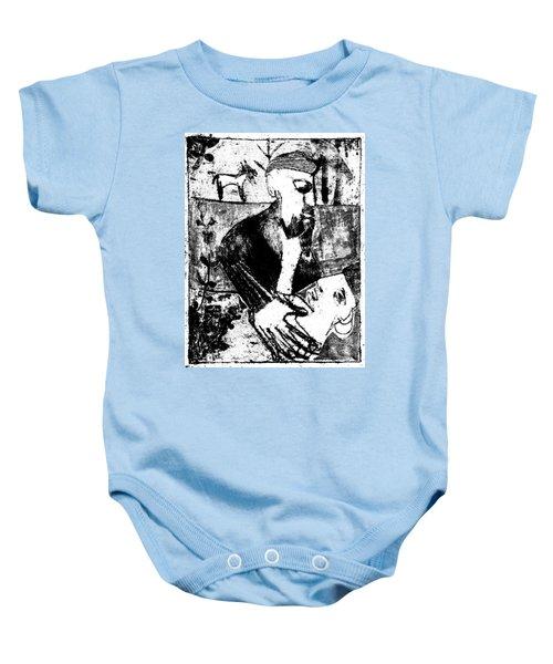 After Childish Edgeworth Black And White Print 26 Baby Onesie
