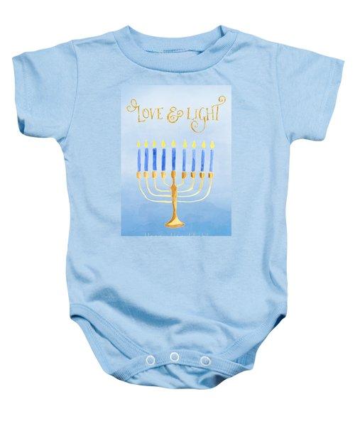 Love And Light For Hanukkah Baby Onesie