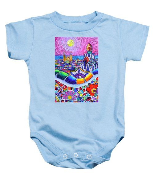 Barcelona Park Guell Colorful Night Textural Impasto Knife Oil Painting Abstract Ana Maria Edulescu Baby Onesie