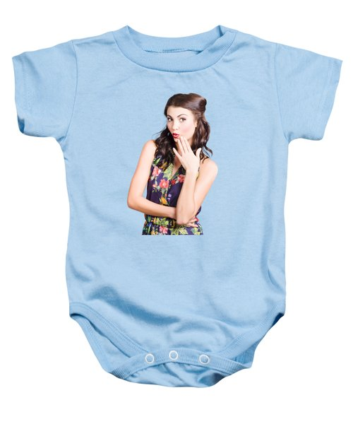 Beautiful Girl With Red Lips Expressing Surprise Baby Onesie