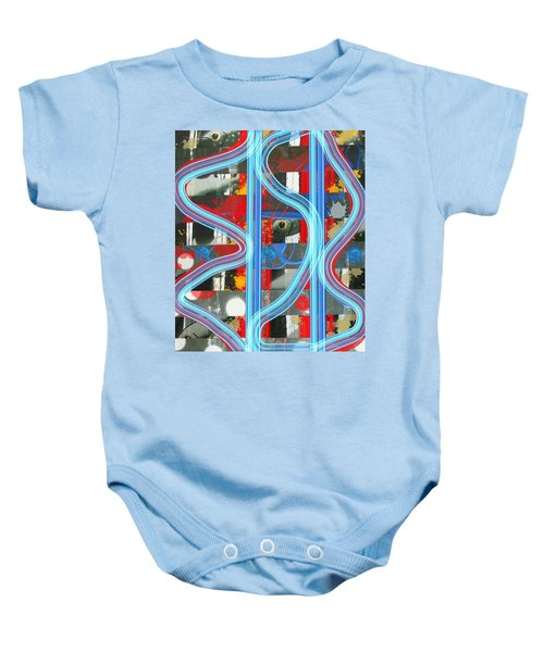 Blue Meet Red Black And White Fish Baby Onesie
