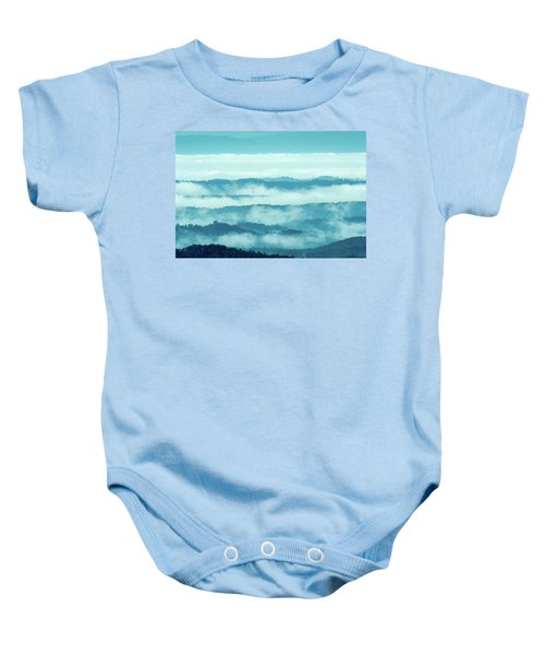 Blue Ridge Mountains Layers Upon Layers In Fog Baby Onesie