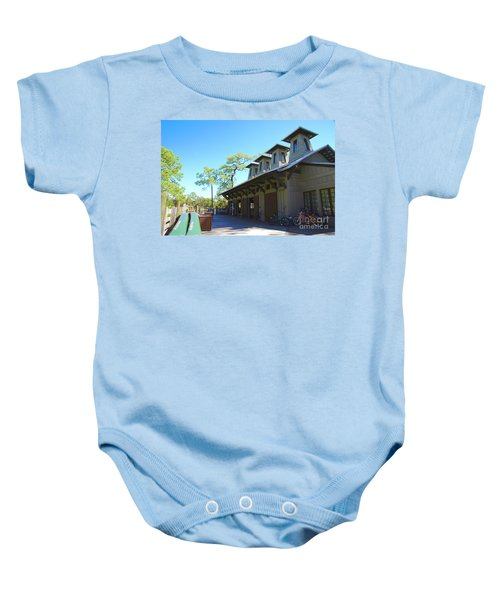 Boathouse In Watercolor Baby Onesie