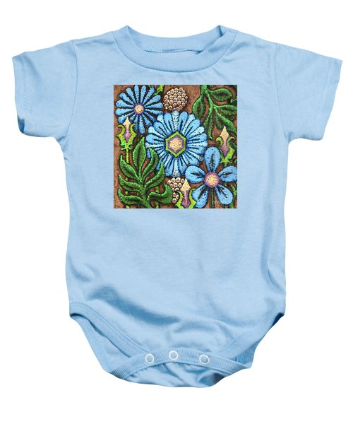 Brown And Blue Floral 1 Baby Onesie
