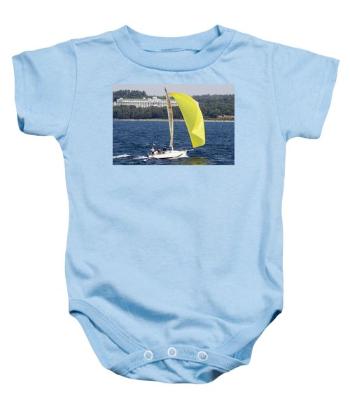 Chicago To Mackinac Yacht Race Sailboat With Grand Hotel Baby Onesie