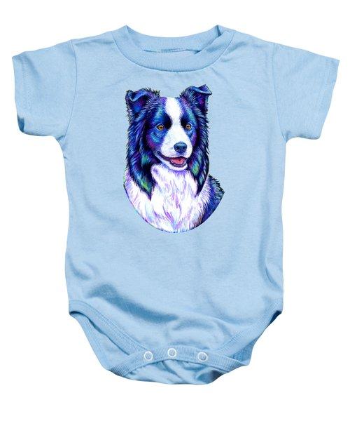 Colorful Border Collie Dog Baby Onesie