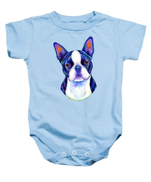 Colorful Boston Terrier Dog Baby Onesie