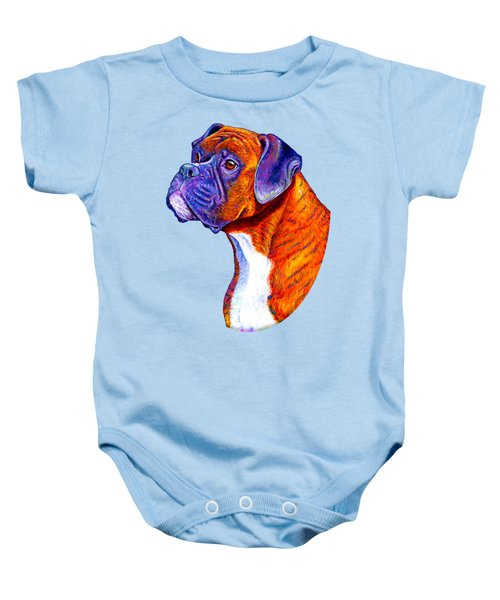 Colorful Brindle Boxer Dog Baby Onesie