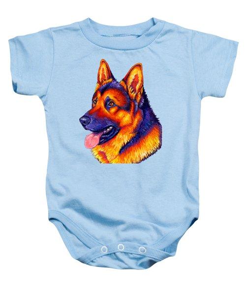 Colorful German Shepherd Dog Baby Onesie