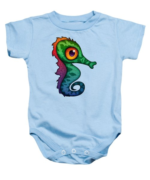 Colorful Seahorse Cartoon Baby Onesie