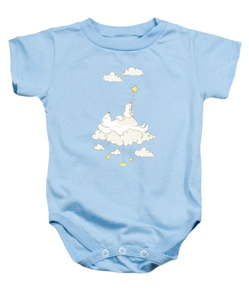 Cute Polar Bears On Cloud Whimsical Art For Kids Baby Onesie