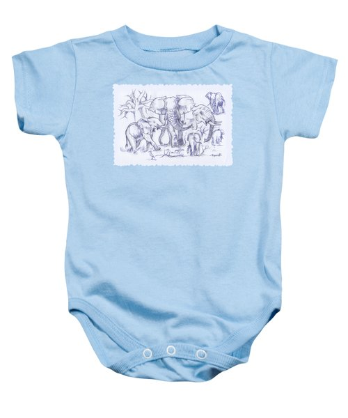Elephant And Cattle Egrets Sketches Baby Onesie