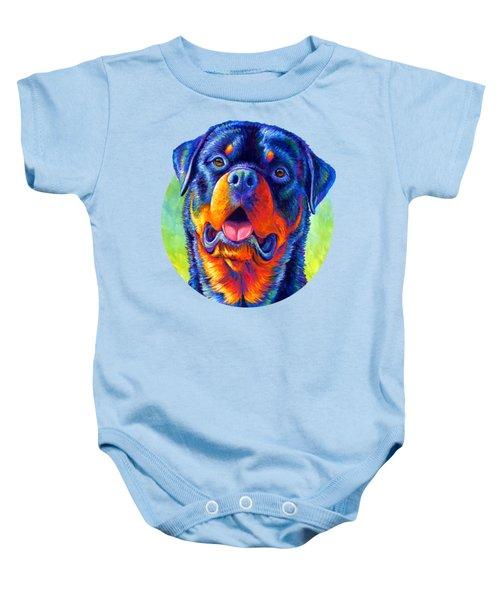 Gentle Guardian Colorful Rottweiler Dog Baby Onesie
