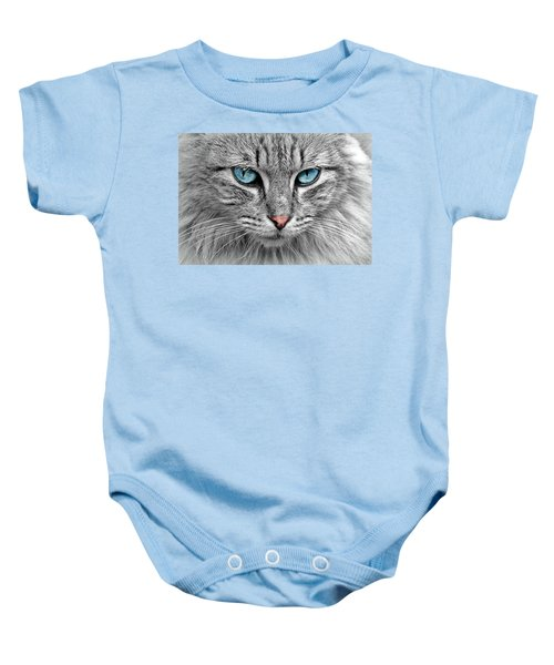 Grey Cat With Blue Eyes Baby Onesie