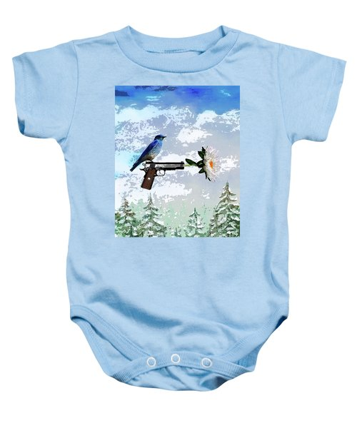 Bluebird Of Happiness- Flower In A Gun Baby Onesie
