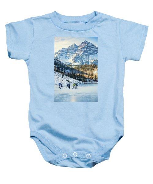 Hockey On Maroon Lake Maroon Bells Aspen Colorado Baby Onesie