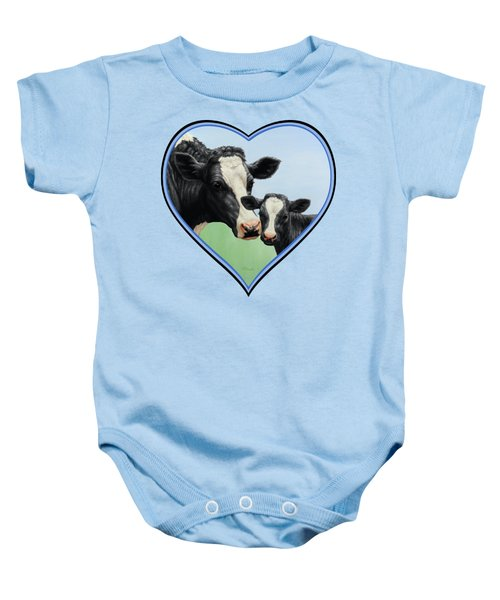 Holstein Cow And Calf Baby Onesie