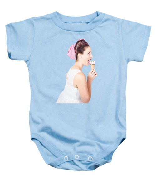 Isolated Pinup Girl With Ice Cream In Studio  Baby Onesie