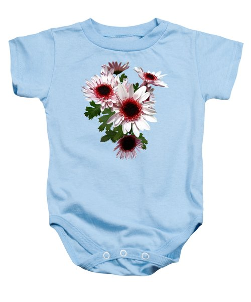 Light Pink Mums With Dark Pink Center Baby Onesie