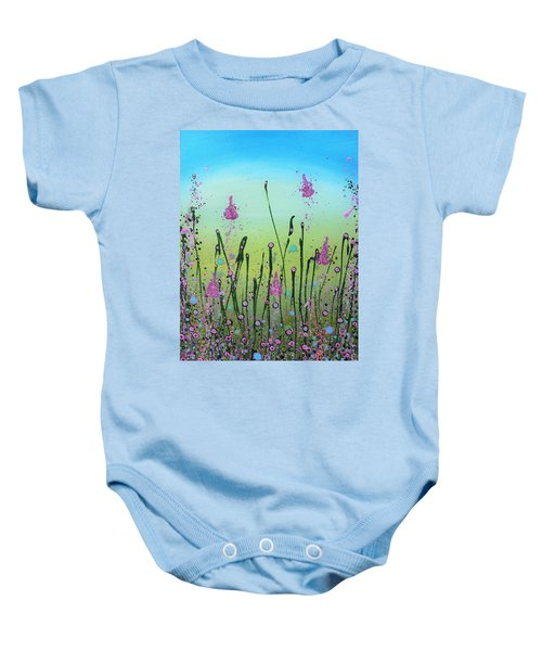Lilacs And Bluebells Baby Onesie