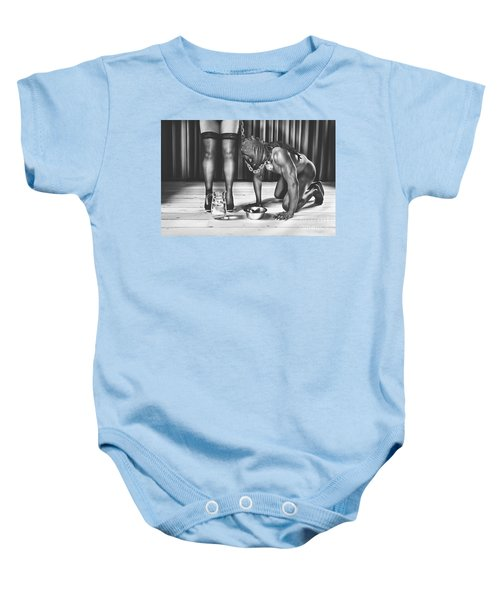 Man With Mask On His Knees Beside His Mistress Baby Onesie