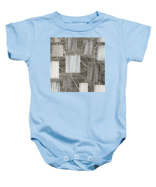 Neutral Leaf Print Squares Cream Baby Onesie