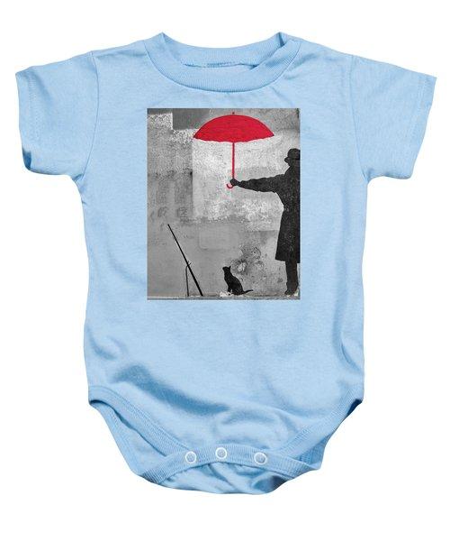 Paris Graffiti Man With Red Umbrella Baby Onesie