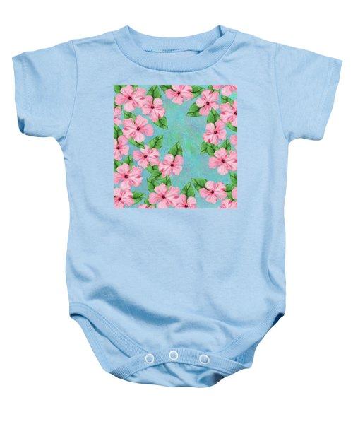 Pink Hibiscus Tropical Floral Print Baby Onesie