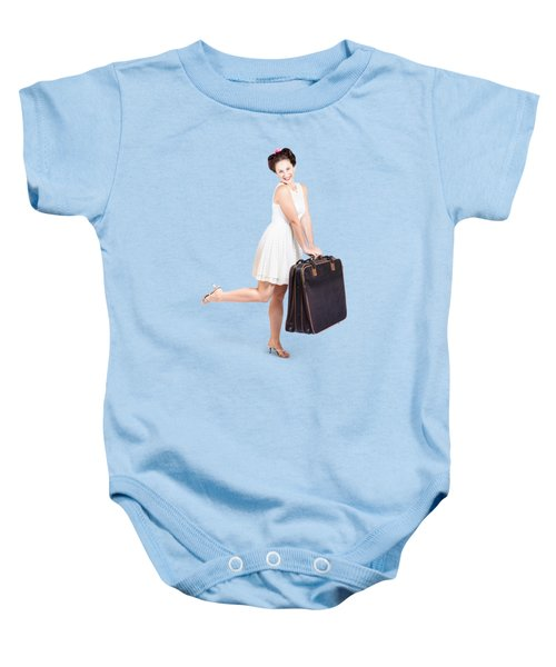 Pinup Model Doing A Hop And Skip With Travel Case Baby Onesie